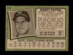 1971 Topps #579  Marty Pattin  Back Thumbnail