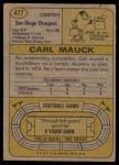 1974 Topps #477  Carl Mauck  Back Thumbnail