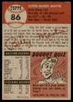 1953 Topps #86  Billy Martin  Back Thumbnail