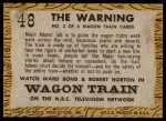 1958 Topps TV Westerns #48   The Warning  Back Thumbnail