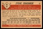 1953 Bowman #91  Steve Souchock  Back Thumbnail