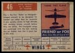 1952 Topps Wings #46   XF4D Skyray Back Thumbnail
