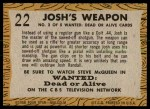 1958 Topps TV Westerns #22   Josh's Weapon  Back Thumbnail