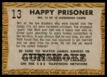 1958 Topps TV Westerns #13   Happy Prisoner  Back Thumbnail
