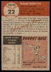 1953 Topps #22  Howard Fox  Back Thumbnail