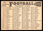 1959 Topps #133   Giants Team Checklist Back Thumbnail