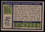 1972 Topps #200  Roger Staubach  Back Thumbnail