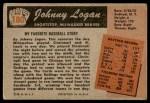 1955 Bowman #180  Johnny Logan  Back Thumbnail