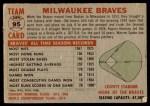 1956 Topps #95 CEN  Braves Team Back Thumbnail