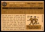 1960 Topps #414  Don Williams  Back Thumbnail
