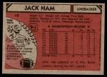 1980 Topps #10  Jack Ham  Back Thumbnail