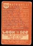 1952 Topps Look 'N See #106  Machiavelli  Back Thumbnail