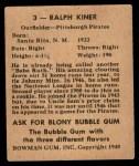 1948 Bowman #3  Ralph Kiner  Back Thumbnail