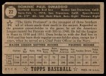 1952 Topps #22  Dom DiMaggio  Back Thumbnail