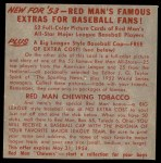 1953 Red Man #13 NL x Enos Slaughter  Back Thumbnail