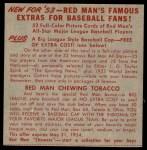 1953 Red Man #19 AL x Bob Porterfield  Back Thumbnail