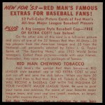 1953 Red Man #12 NL x Red Schoendienst  Back Thumbnail