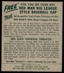 1954 Red Man #2 AL Jim Busby  Back Thumbnail