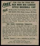 1954 Red Man #23 AL Hank Bauer  Back Thumbnail