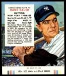 1954 Red Man #23 AL Hank Bauer  Front Thumbnail