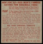1953 Red Man #25 NL x Bobby Thomson  Back Thumbnail
