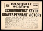 1961 Nu-Card Scoops #425   -   Red Schoendienst  Red Schoendienst Key Player in Victory Back Thumbnail