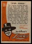 1958 Topps Zorro #39   Stop Zorro Back Thumbnail