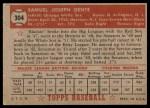 1952 Topps #304  Sam Dente  Back Thumbnail
