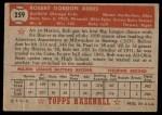 1952 Topps #259  Bob Addis  Back Thumbnail