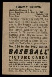 1952 Bowman #236  Tom Brown  Back Thumbnail