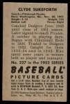 1952 Bowman #227  Clyde Sukeforth  Back Thumbnail