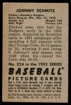 1952 Bowman #224  Johnny Schmitz  Back Thumbnail