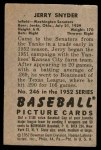 1952 Bowman #246  Jerry Snyder  Back Thumbnail
