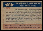 1959 Fleer #21   -  Ted Williams  Honors for Williams Back Thumbnail