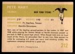 1961 Fleer #212  Pete Hart  Back Thumbnail