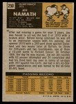 1971 Topps #250  Joe Namath  Back Thumbnail
