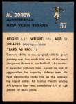 1962 Fleer #57  Al Dorow  Back Thumbnail