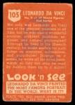 1952 Topps Look 'N See #105  Leonardo Da Vinci  Back Thumbnail