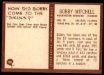 1967 Philadelphia #186  Bobby Mitchell  Back Thumbnail