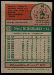 1975 Topps #315  Don Kessinger  Back Thumbnail