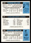 1980 Topps   -  George Gervin / Foots Walker / Freeman Williams 208 / 53 / 223 Back Thumbnail