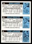 1980 Topps   -  Tom LaGarde / Billy Paultz / Bob Lanier 69 / 109 / 150 Back Thumbnail