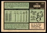 1971 O-Pee-Chee #173  Ted Green  Back Thumbnail