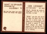 1967 Philadelphia #115  Carl  Spider  Lockhart  Back Thumbnail
