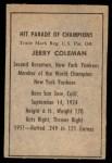 1952 Berk Ross  Jerry Coleman  Back Thumbnail