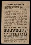 1952 Bowman #77  Eddie Robinson  Back Thumbnail