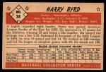 1953 Bowman #38  Harry Byrd  Back Thumbnail