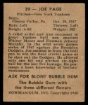 1948 Bowman #29  Joe Page  Back Thumbnail