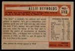 1954 Bowman #113  Allie Reynolds  Back Thumbnail