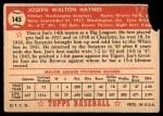 1952 Topps #145 CRM Joe Haynes  Back Thumbnail